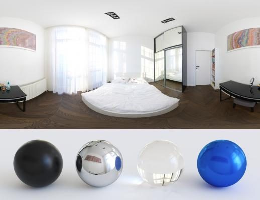 Soft white bedroom HDRI